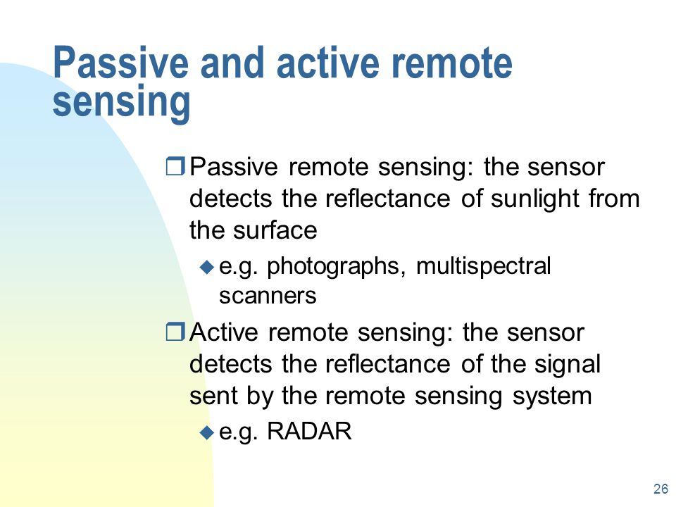 Passive and active remote sensing