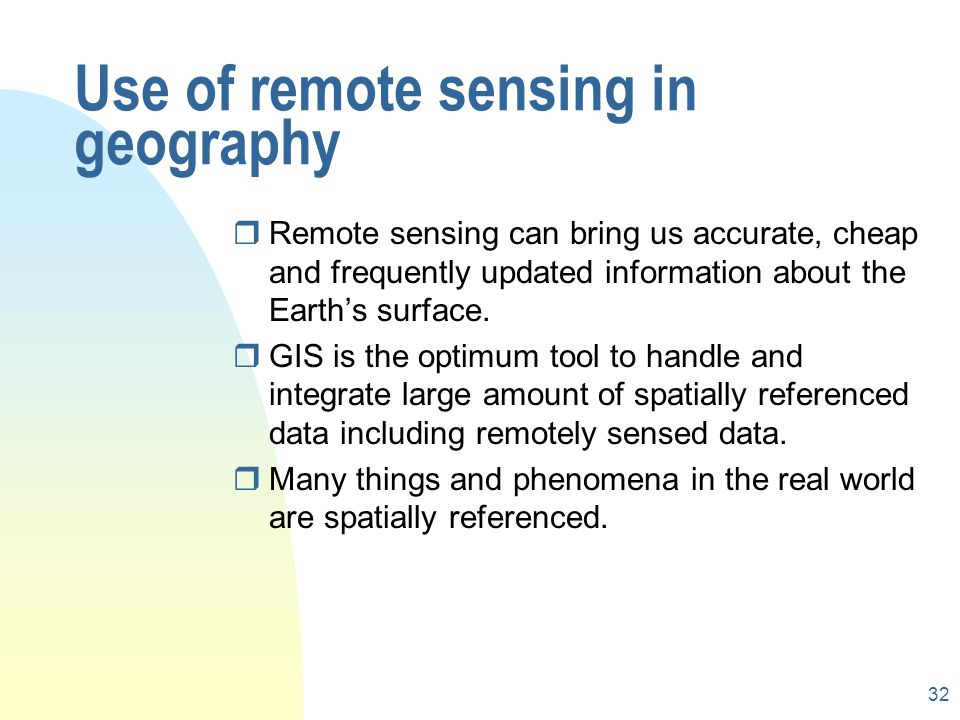 Use of remote sensing in geography
