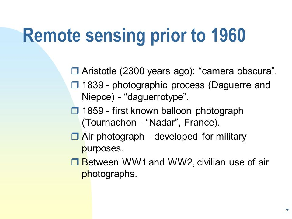 Remote sensing prior to 1960
