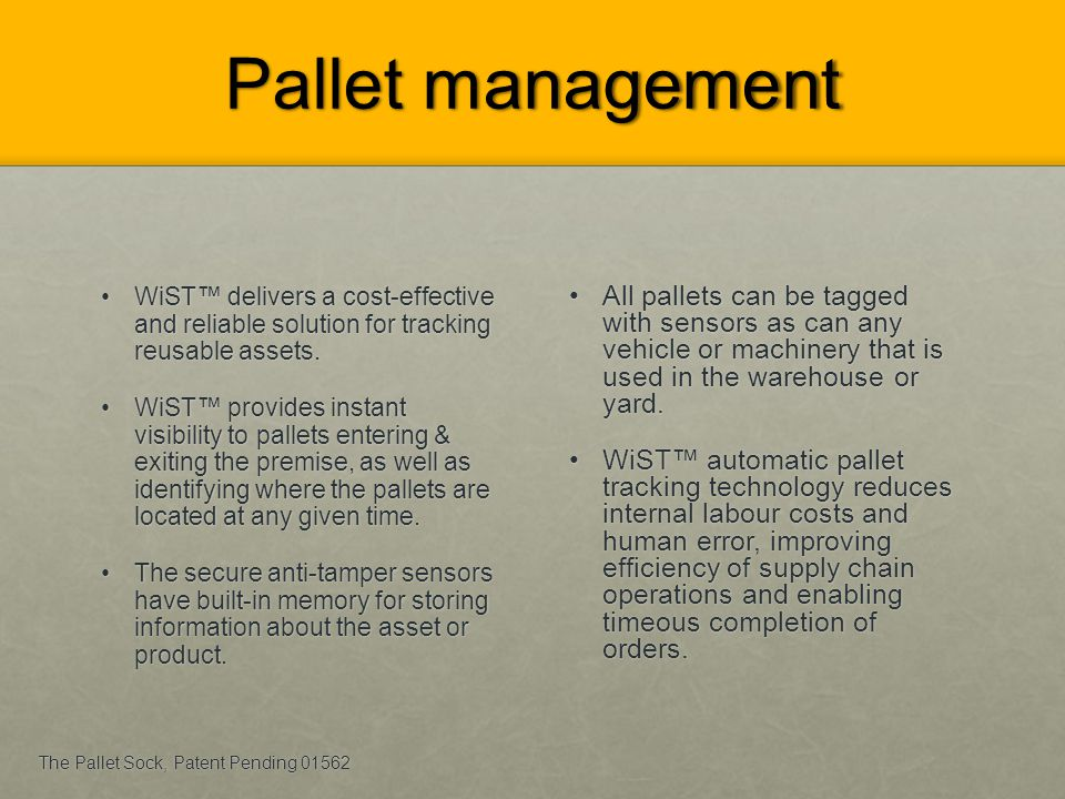 Pallet management WiST™ delivers a cost-effective and reliable solution for tracking reusable assets.