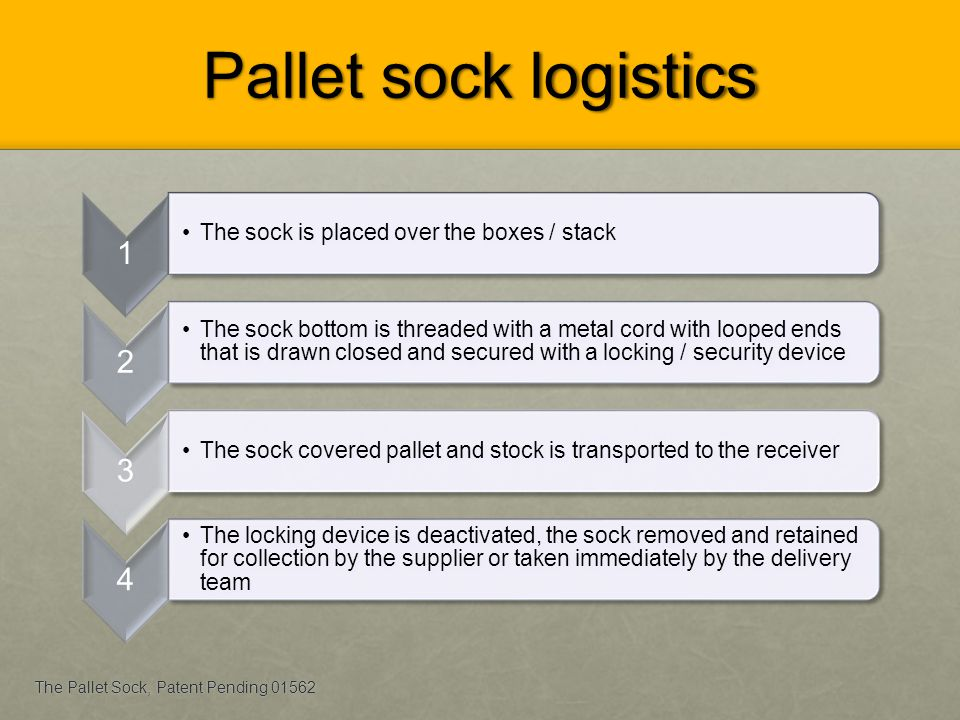 Pallet sock logistics 1. The sock is placed over the boxes / stack. 2.