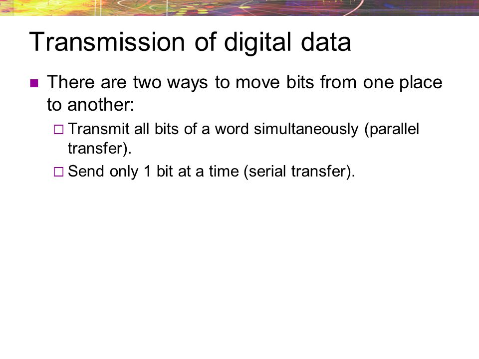Transmission of digital data