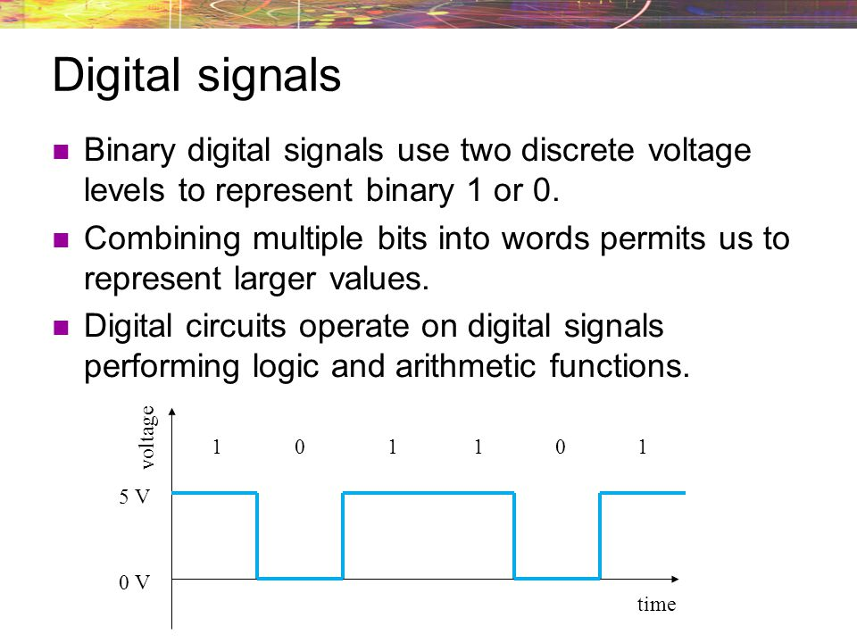 Digital signals Binary digital signals use two discrete voltage levels to represent binary 1 or 0.