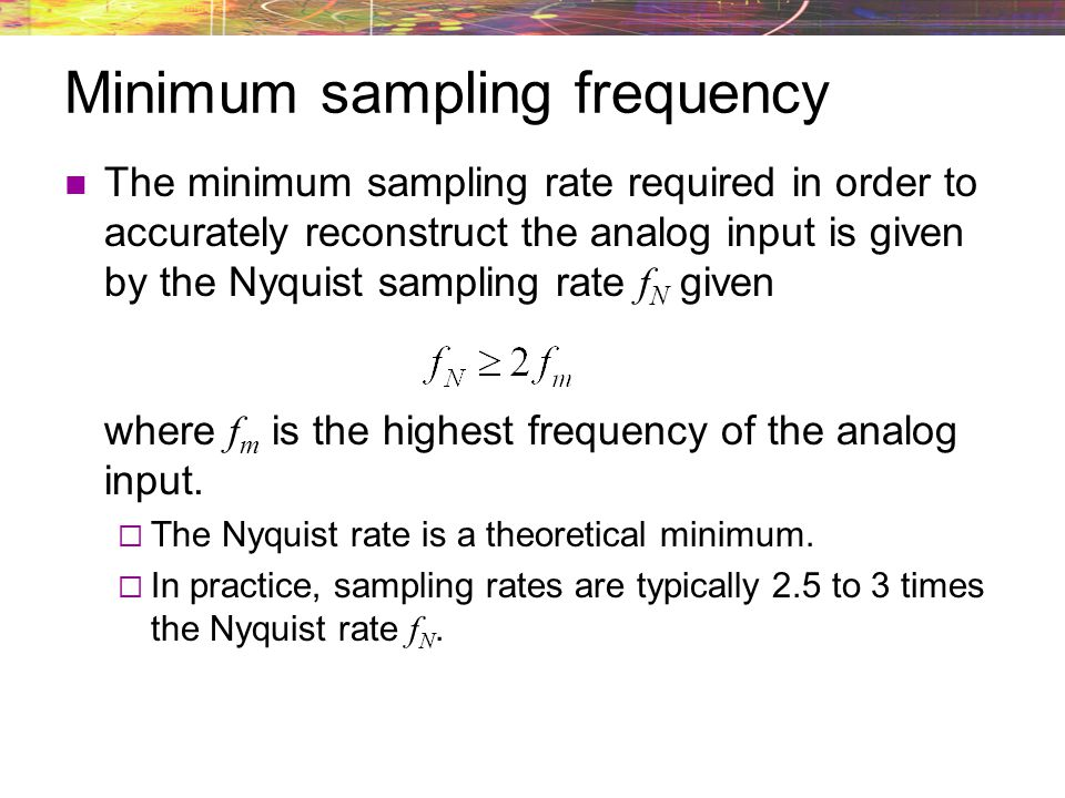 Minimum sampling frequency