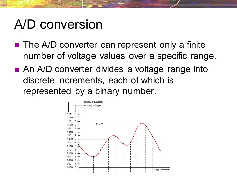 A/D conversion The A/D converter can represent only a finite number of voltage values over a specific range.