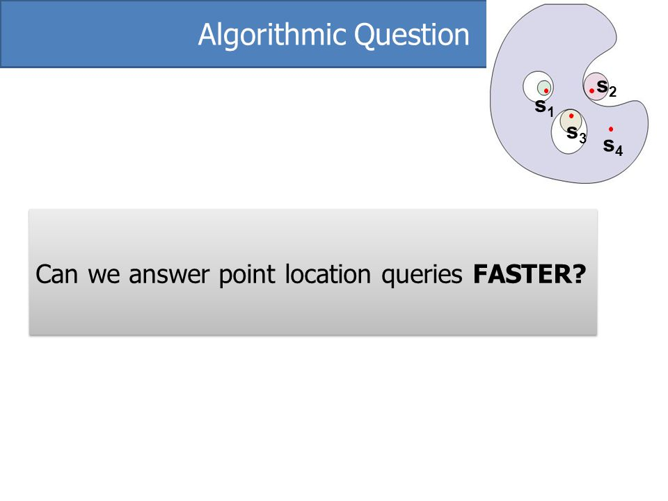 Algorithmic Question Can we answer point location queries FASTER s2