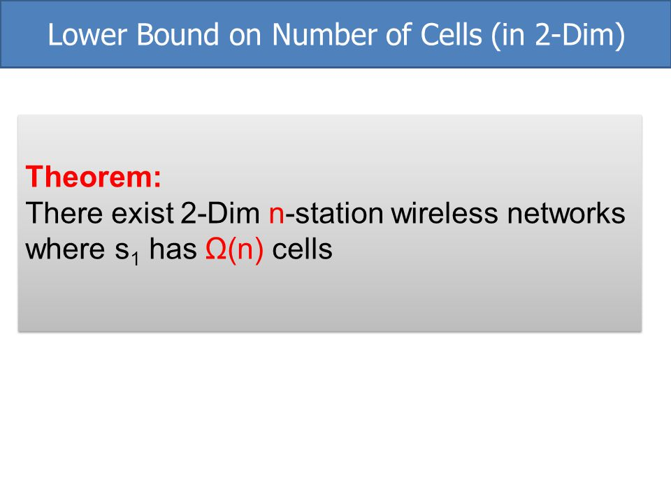 Lower Bound on Number of Cells (in 2-Dim)