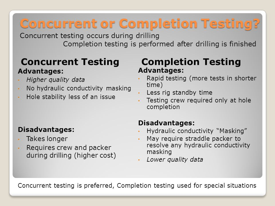 Concurrent or Completion Testing