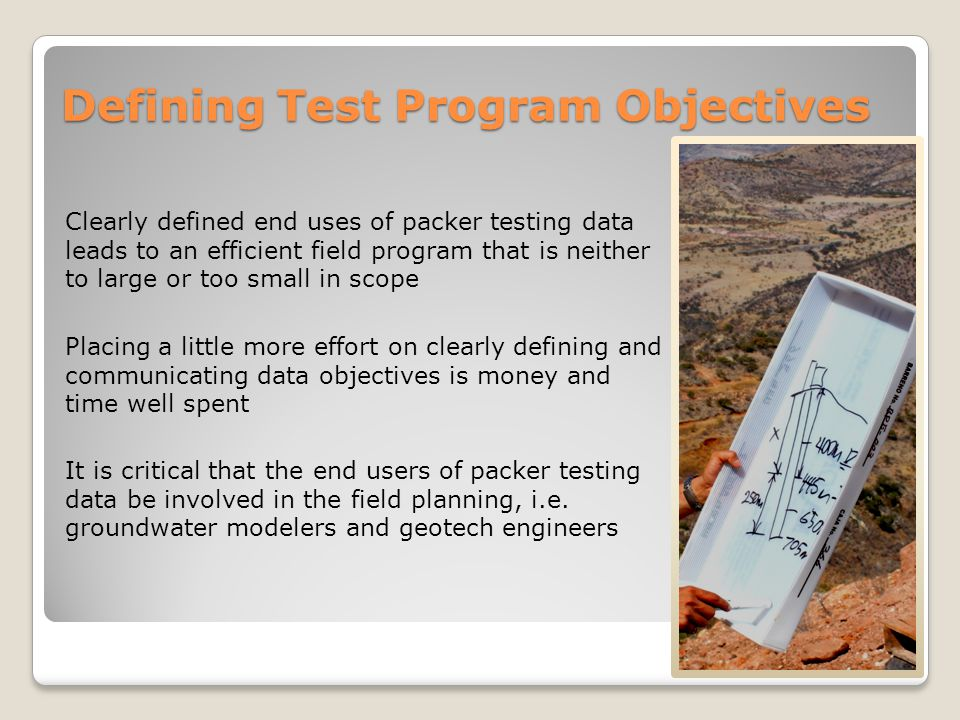 Defining Test Program Objectives