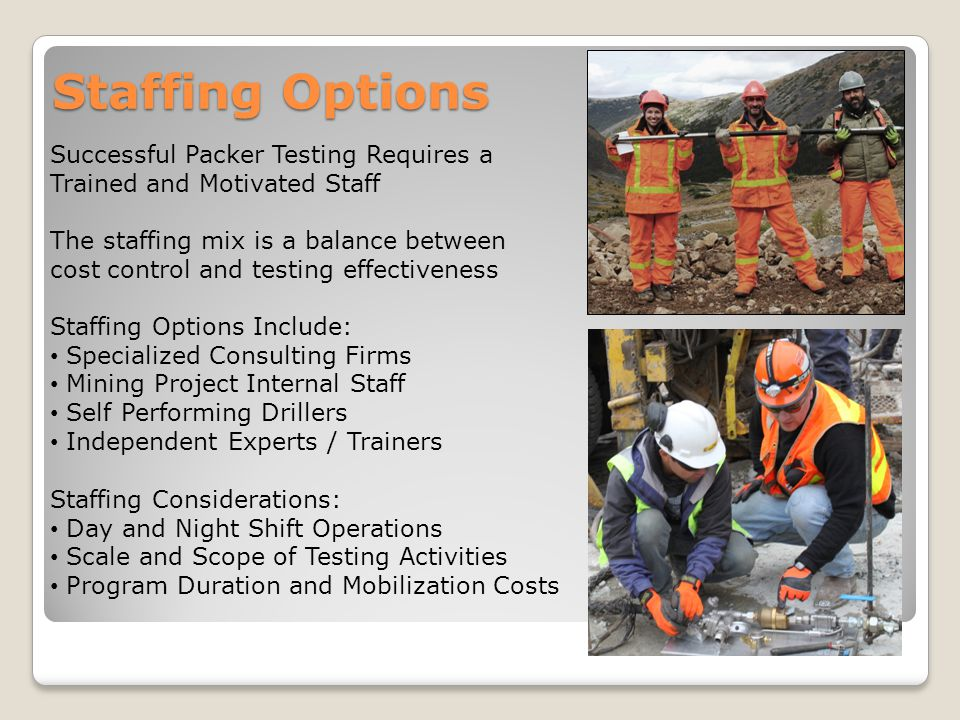 Staffing Options Successful Packer Testing Requires a Trained and Motivated Staff.