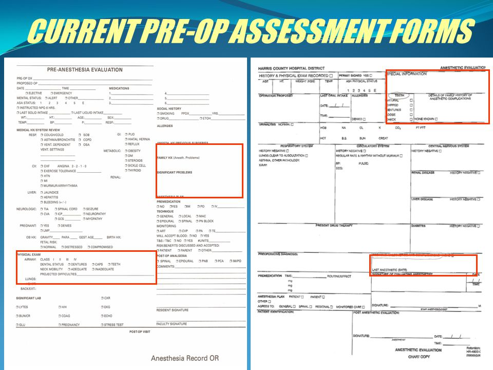 CURRENT PRE-OP ASSESSMENT FORMS