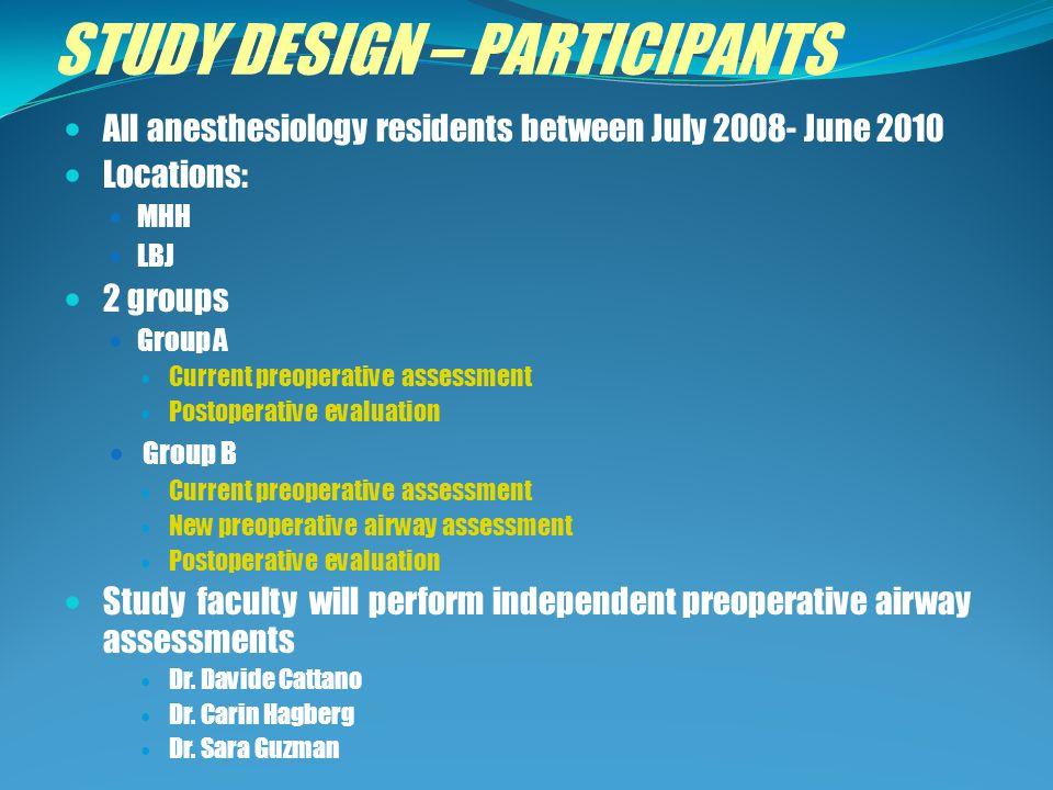 STUDY DESIGN – PARTICIPANTS