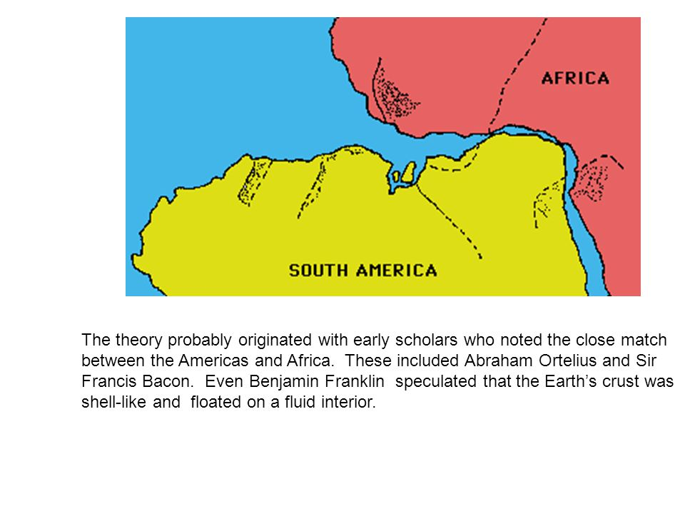 The theory probably originated with early scholars who noted the close match between the Americas and Africa.