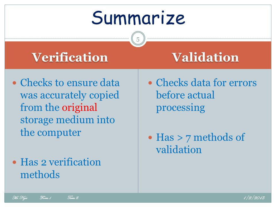 Summarize Verification Validation