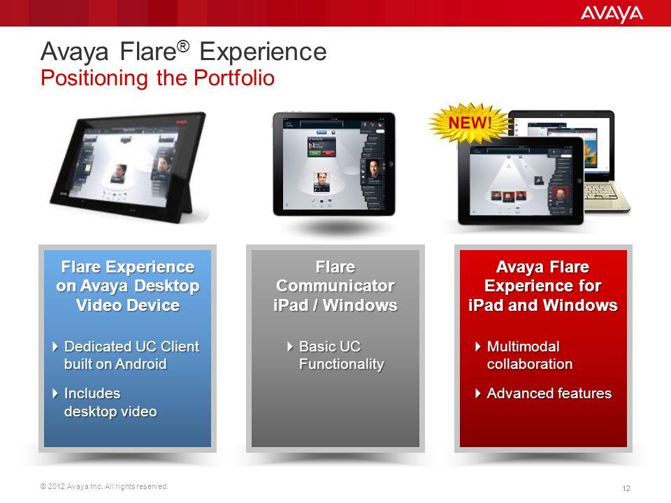 Avaya Flare® Experience Positioning the Portfolio