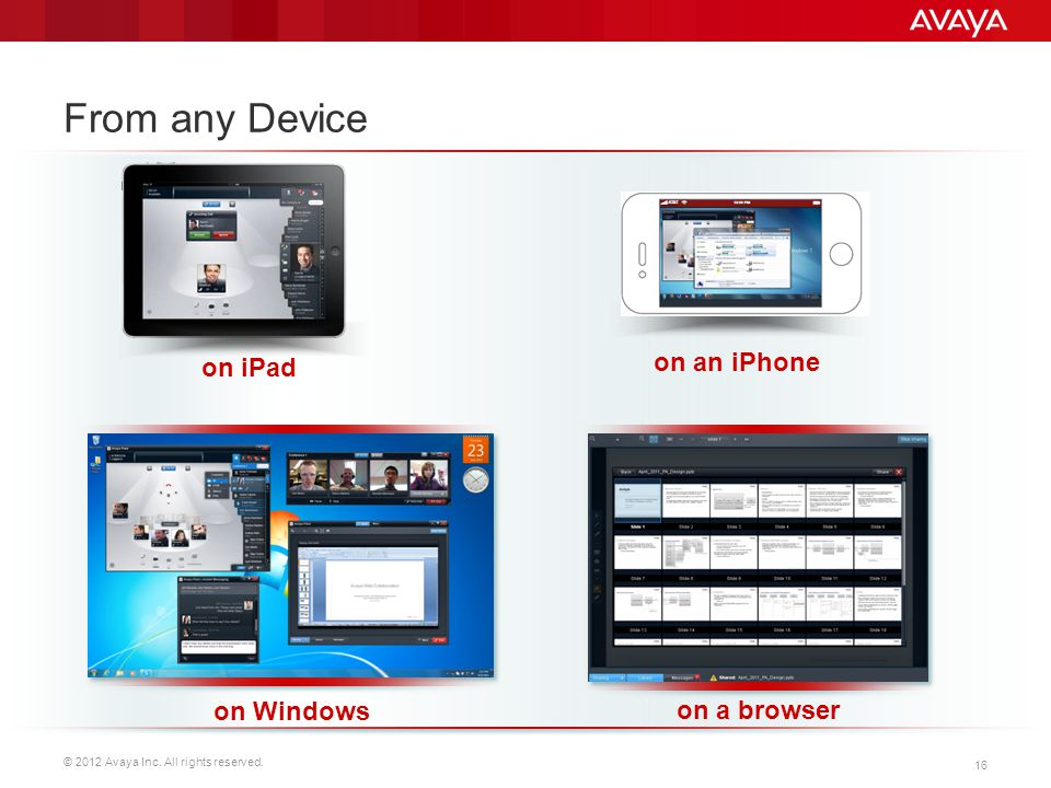 From any Device on iPad on an iPhone on Windows on a browser