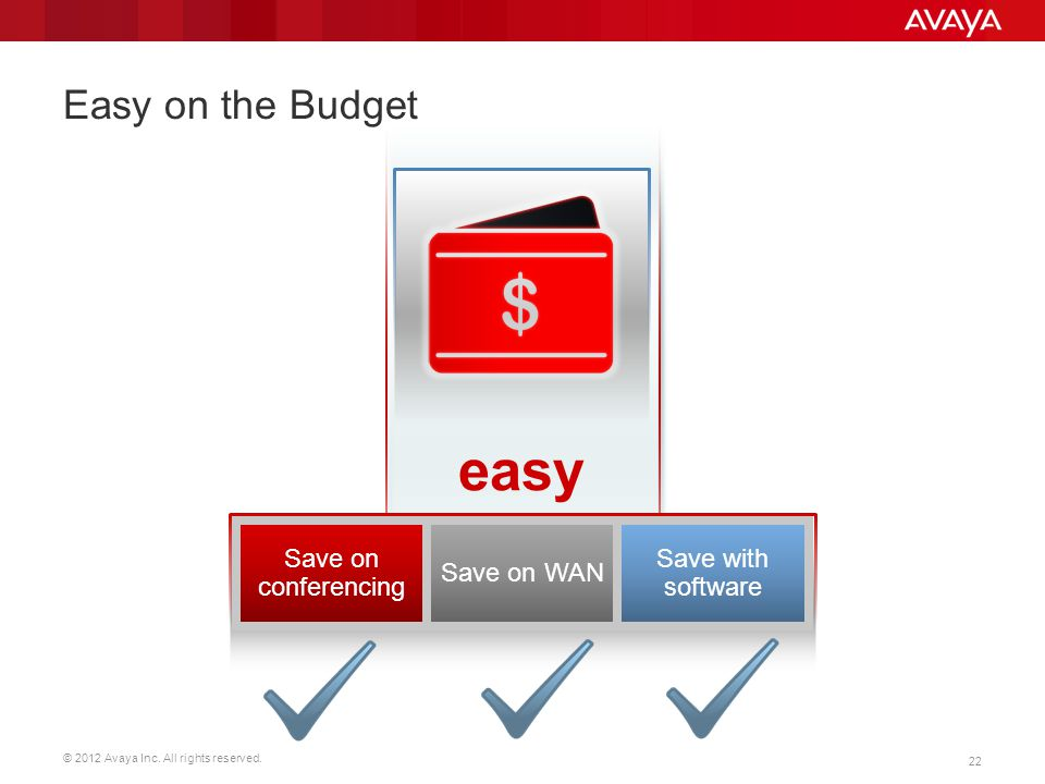 easy Easy on the Budget Save on conferencing Save on WAN