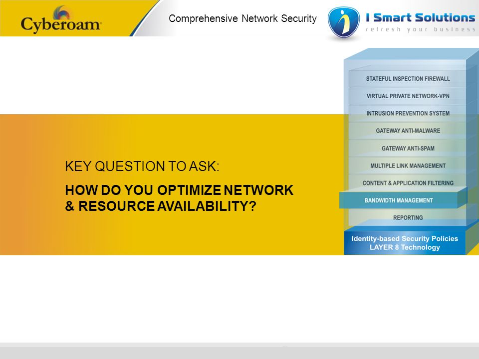 KEY QUESTION TO ASK: HOW DO YOU OPTIMIZE NETWORK & RESOURCE AVAILABILITY