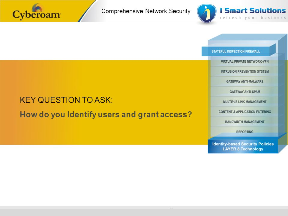 KEY QUESTION TO ASK: How do you Identify users and grant access