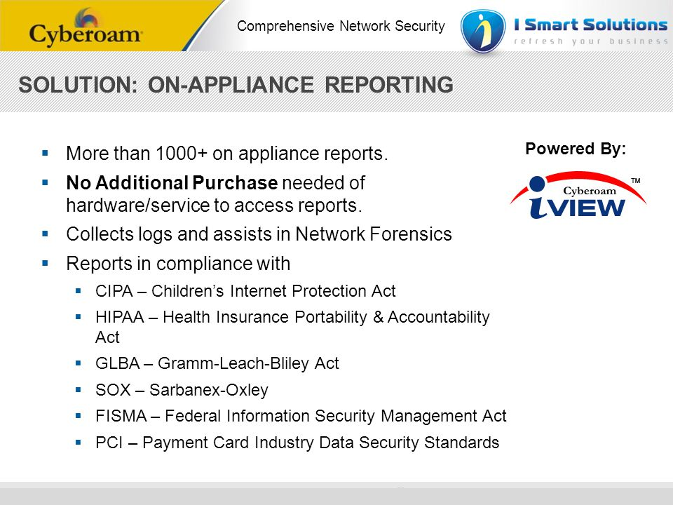 SOLUTION: ON-APPLIANCE REPORTING