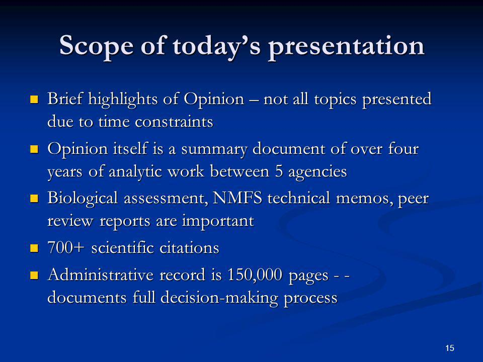 Scope of today's presentation