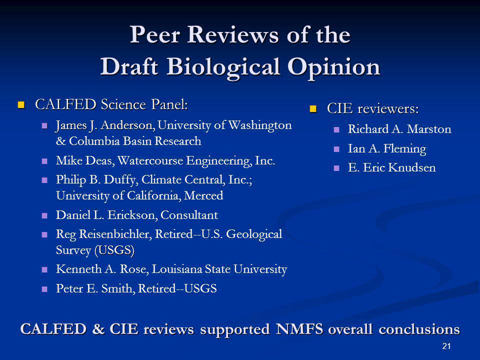 Peer Reviews of the Draft Biological Opinion