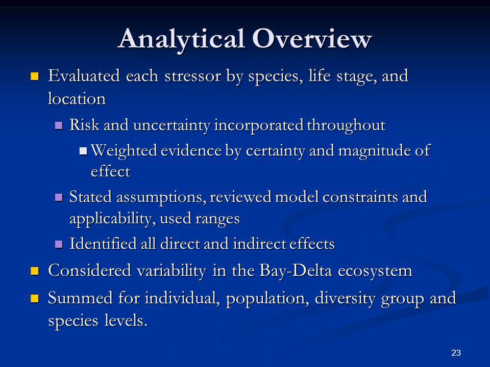 Analytical Overview Evaluated each stressor by species, life stage, and location. Risk and uncertainty incorporated throughout.