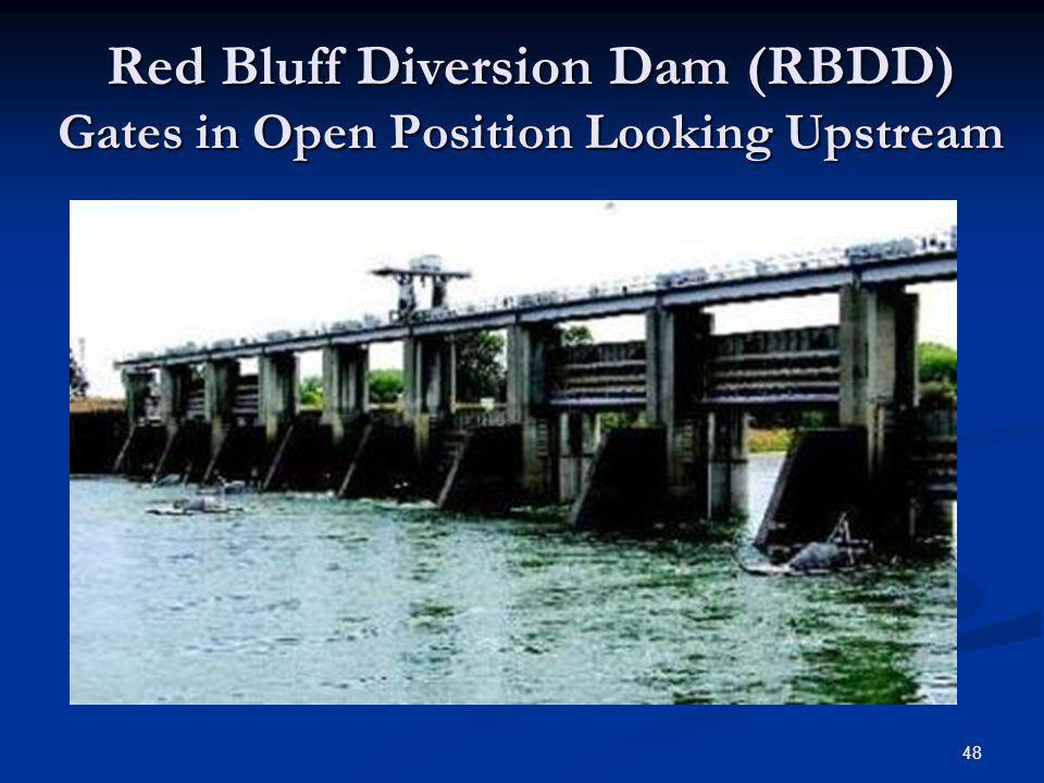 Red Bluff Diversion Dam (RBDD) Gates in Open Position Looking Upstream