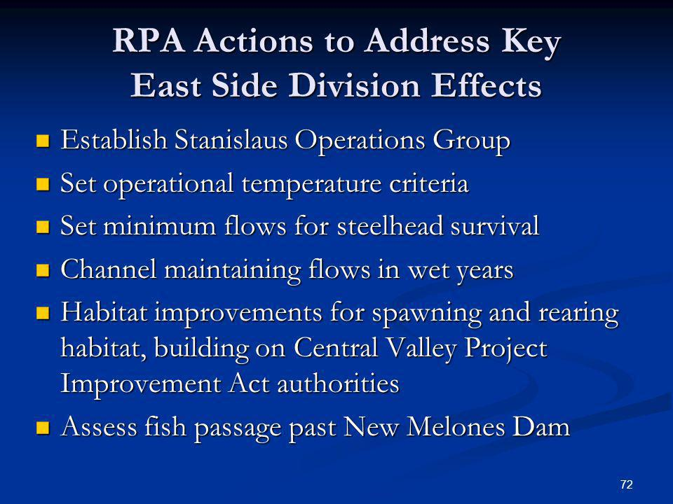 RPA Actions to Address Key East Side Division Effects