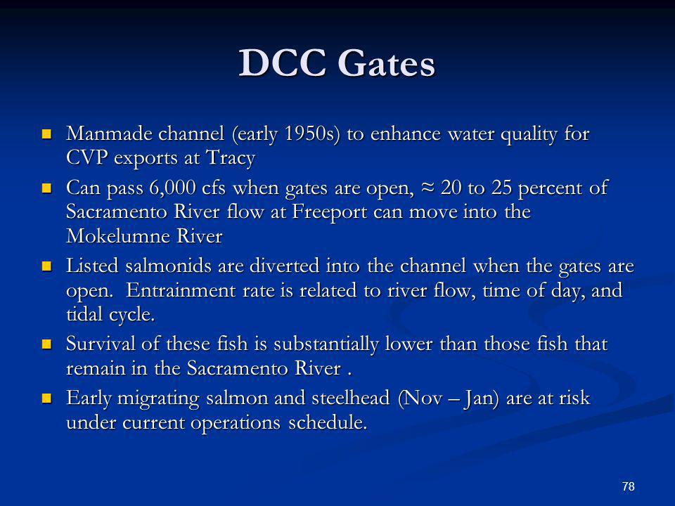 DCC Gates Manmade channel (early 1950s) to enhance water quality for CVP exports at Tracy.