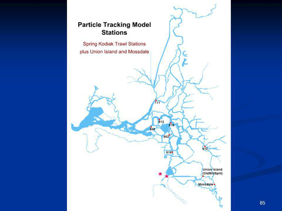 This graphic shows the locations of the particle injections for the particle tracking model simulations conducted in the Delta.