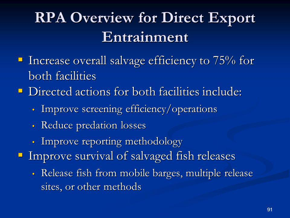 RPA Overview for Direct Export Entrainment