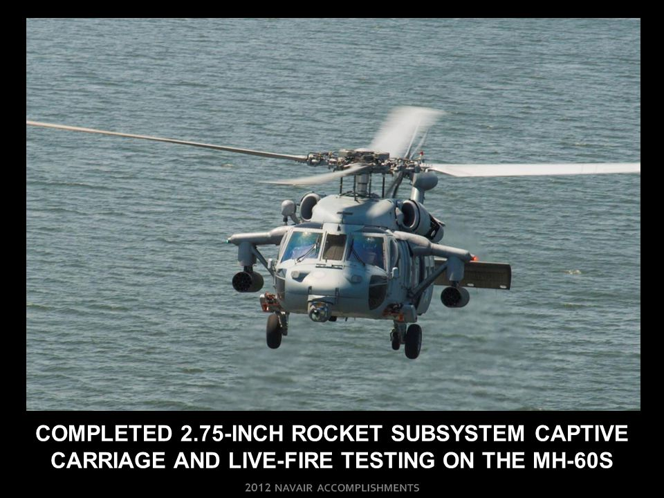 Completed 2.75-INCH rocket SUBSYSTEM Captive carriage and live-fire testing on THE MH-60S