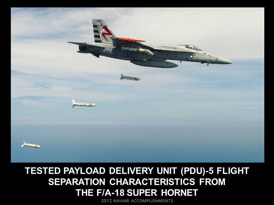 TESTED PAYLOAD DELIVERY UNIT (PDU)-5 FLIGHT SEPARATION CHARACTERISTICS FROM THE F/A-18 SUPER HORNET