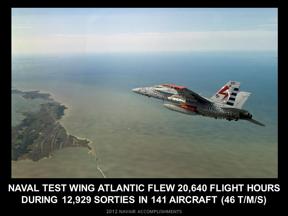 NAVAL TEST WING ATLANTIC FLEW 20,640 FLIGHT HOURS DURING 12,929 SORTIES IN 141 AIRCRAFT (46 T/M/S)