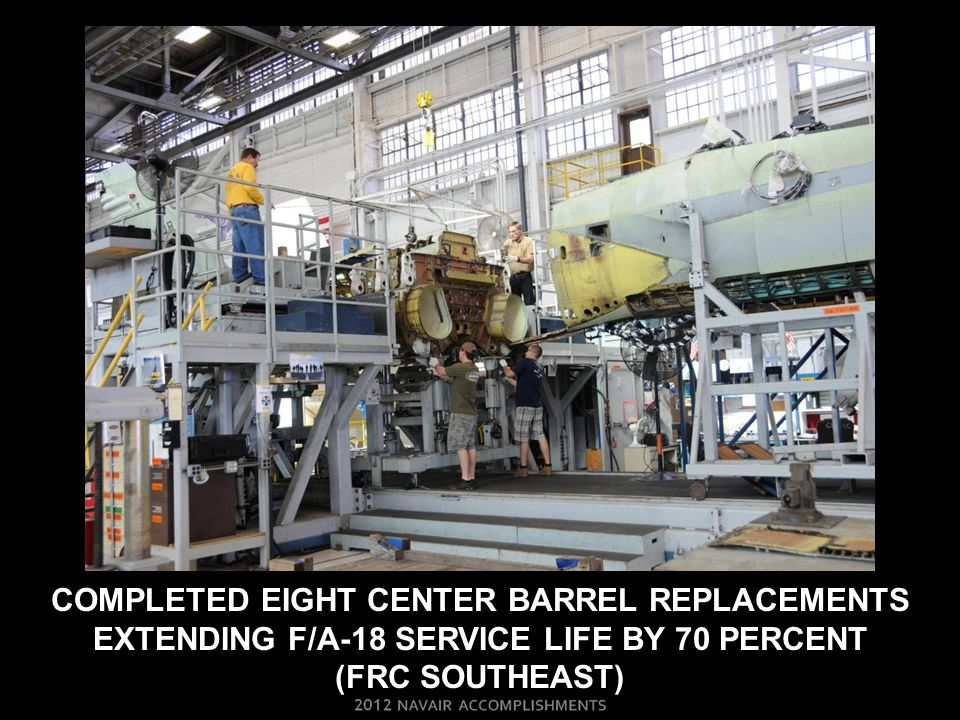 Completed eight center barrel replacements extending F/a-18 service life by 70 percent (FRC Southeast)