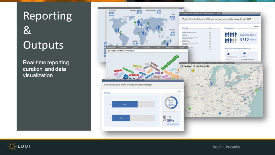 Reporting & Outputs Real-time reporting, curation and data visualization