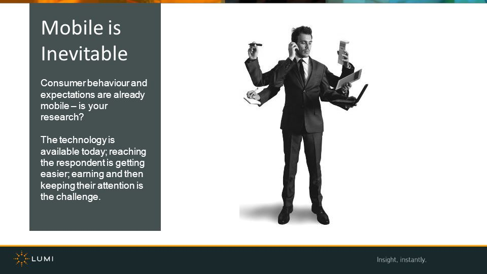 Mobile is Inevitable. Consumer behaviour and expectations are already mobile – is your research