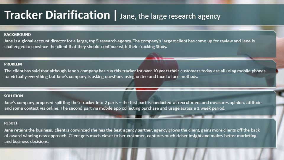 Tracker Diarification | Jane, the large research agency