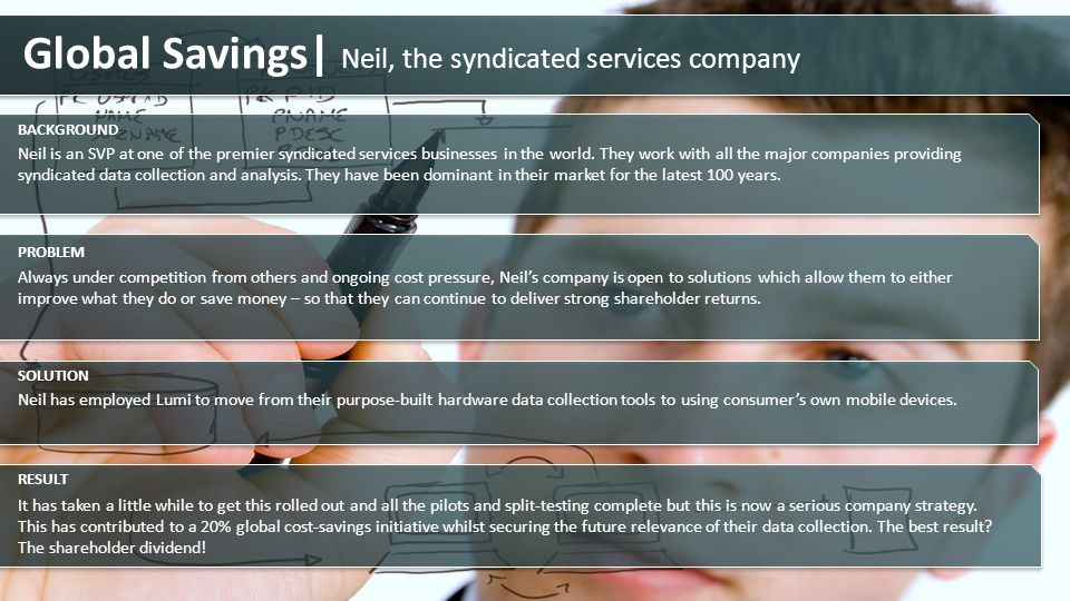 Global Savings| Neil, the syndicated services company