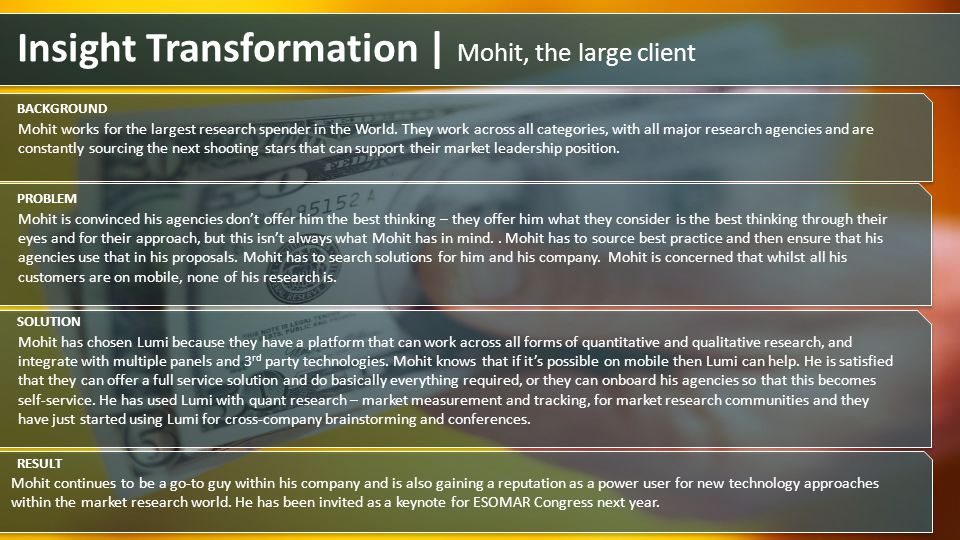 Insight Transformation | Mohit, the large client