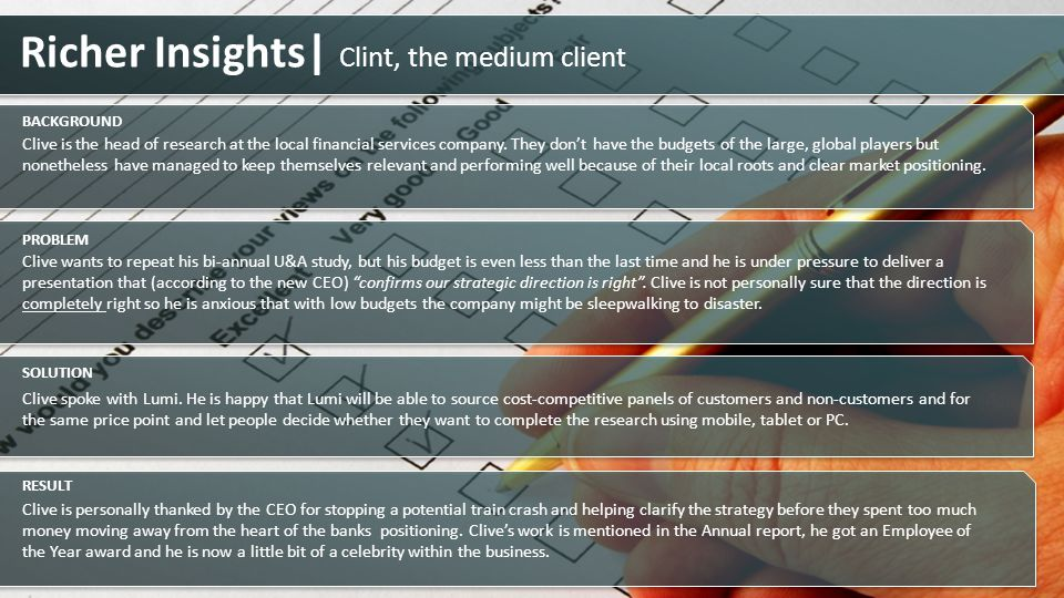 Richer Insights| Clint, the medium client