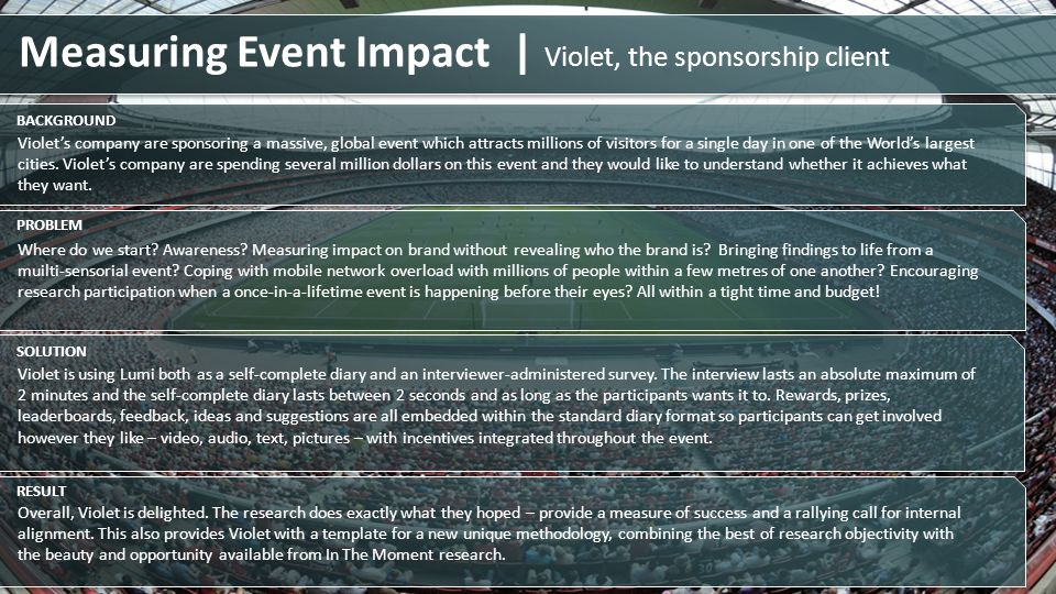 Measuring Event Impact | Violet, the sponsorship client