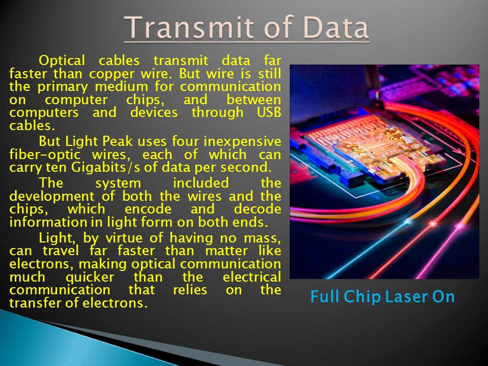 Transmit of Data Full Chip Laser On