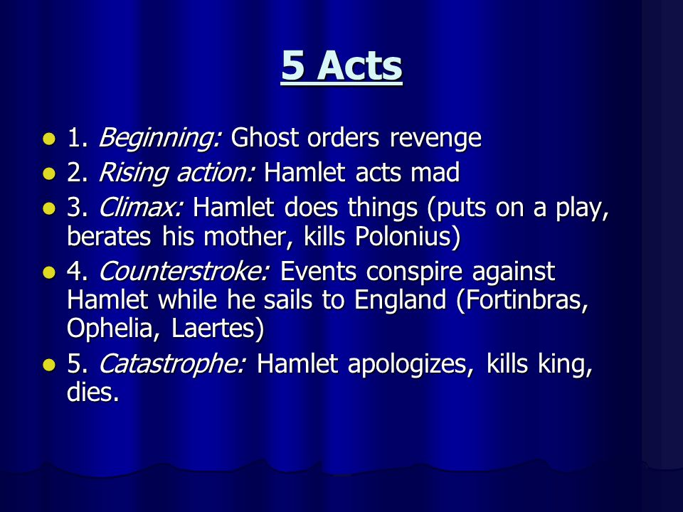 5 Acts 1. Beginning: Ghost orders revenge