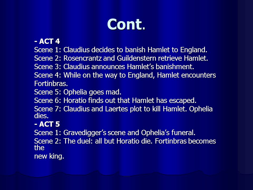 Cont. - ACT 4 Scene 1: Claudius decides to banish Hamlet to England.
