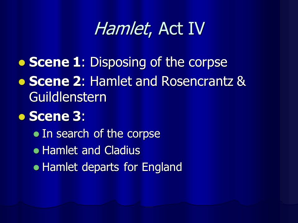 Hamlet, Act IV Scene 1: Disposing of the corpse
