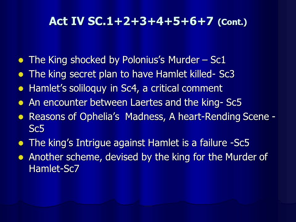 Act IV SC.1+2+3+4+5+6+7 (Cont.) The King shocked by Polonius's Murder – Sc1. The king secret plan to have Hamlet killed- Sc3.