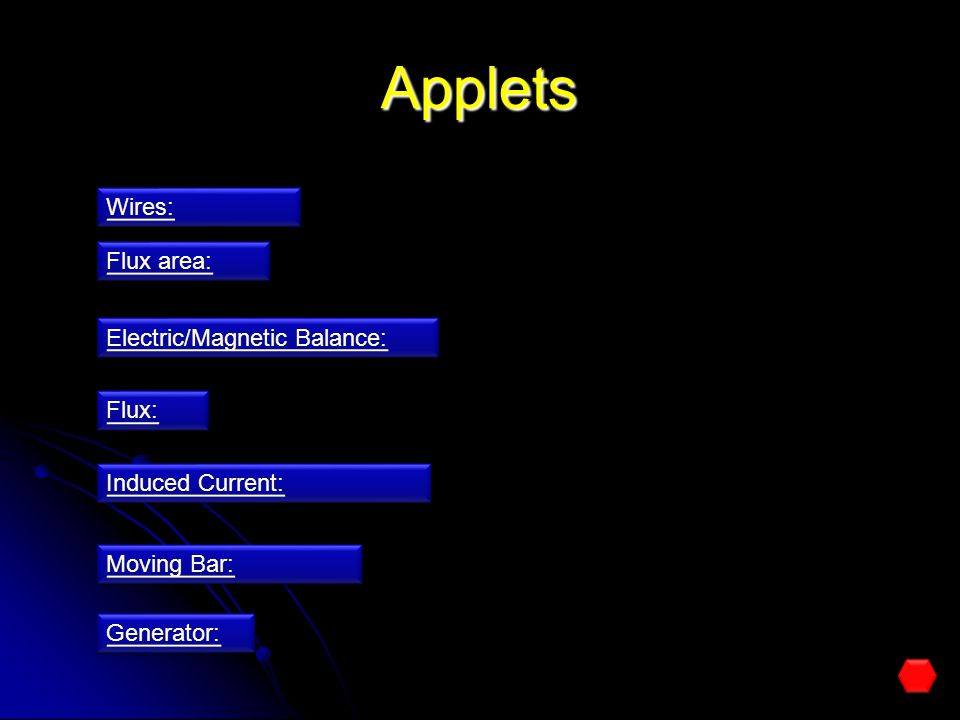 Applets Wires: Flux area: Electric/Magnetic Balance: Flux:
