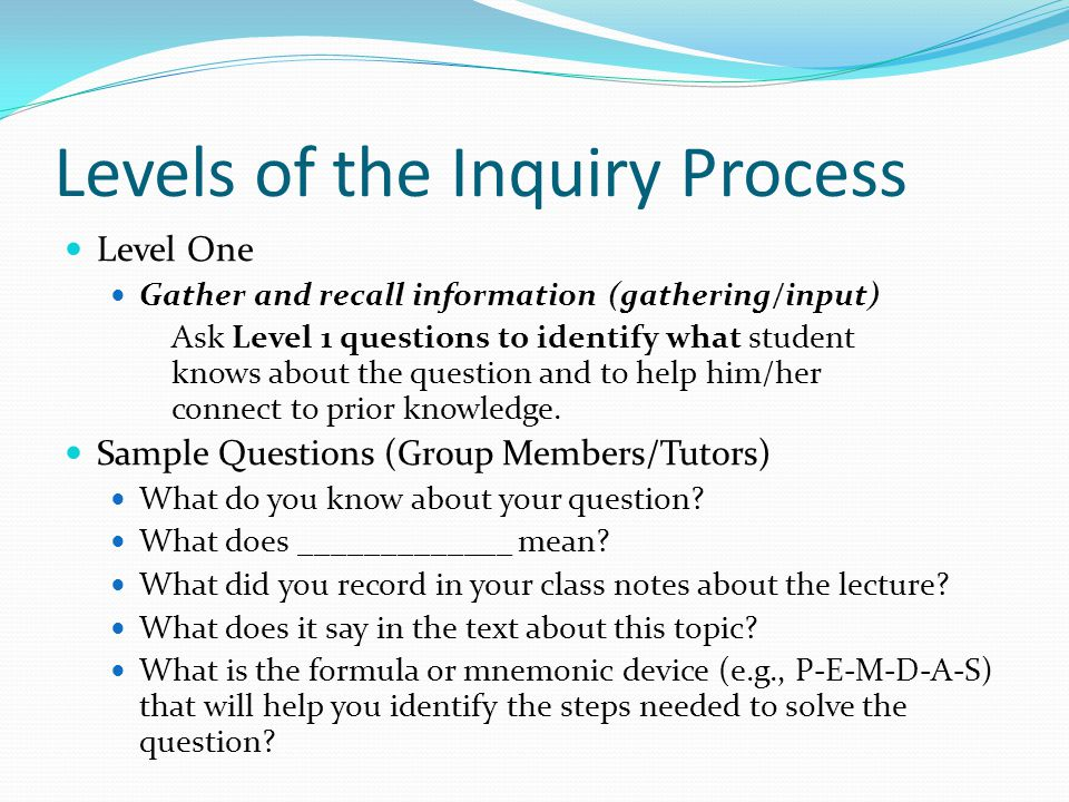 Levels of the Inquiry Process